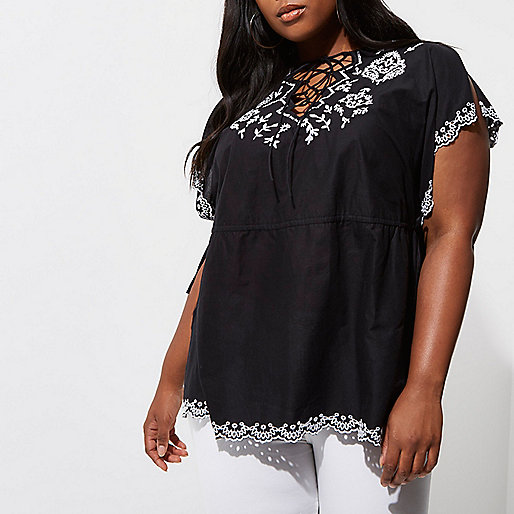 Plus black embroidered tunic top