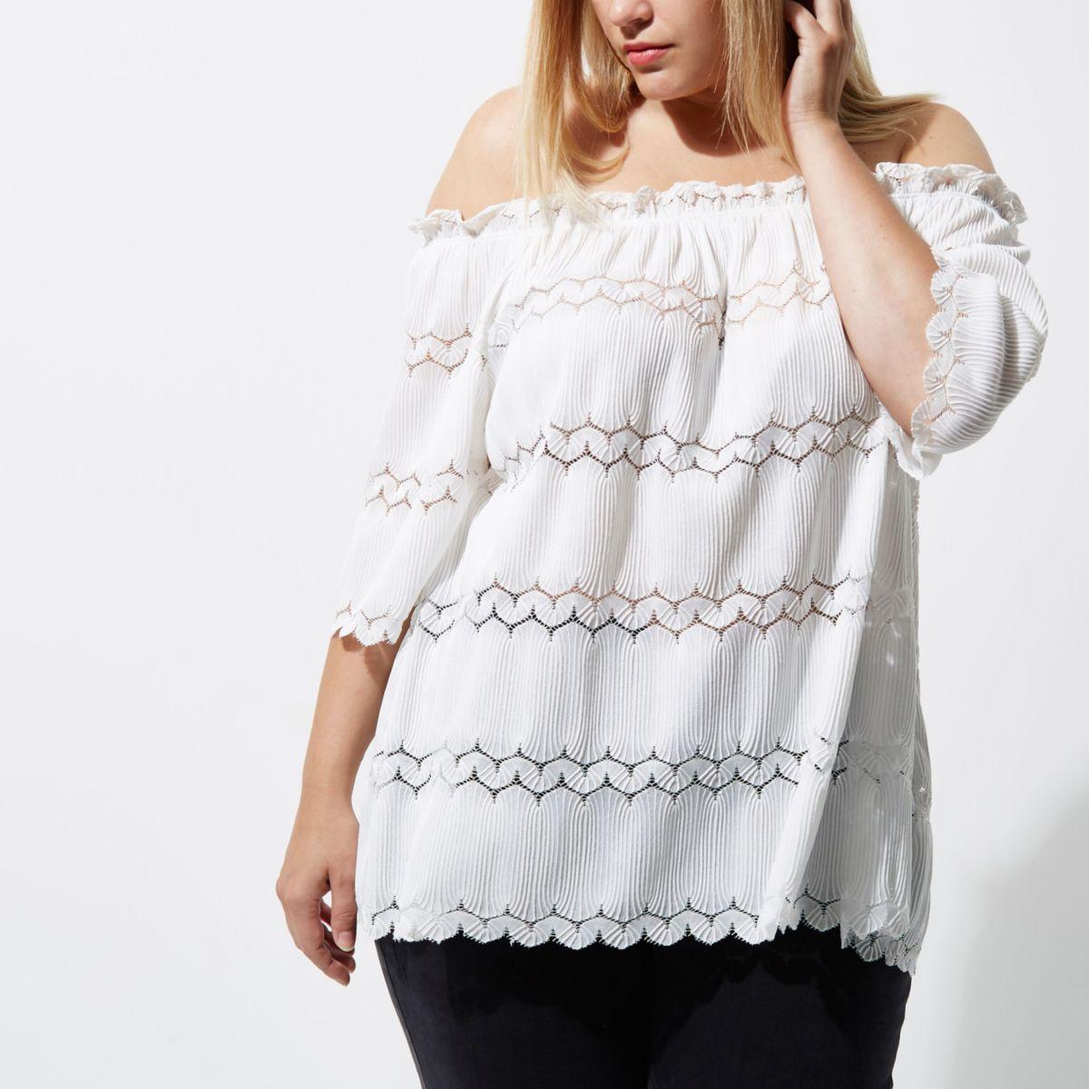 Plus white lace bardot top