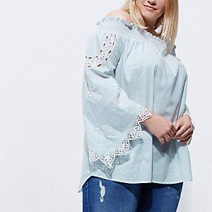 Top Plus froncé bleu Bardot avec bordure en dentelle