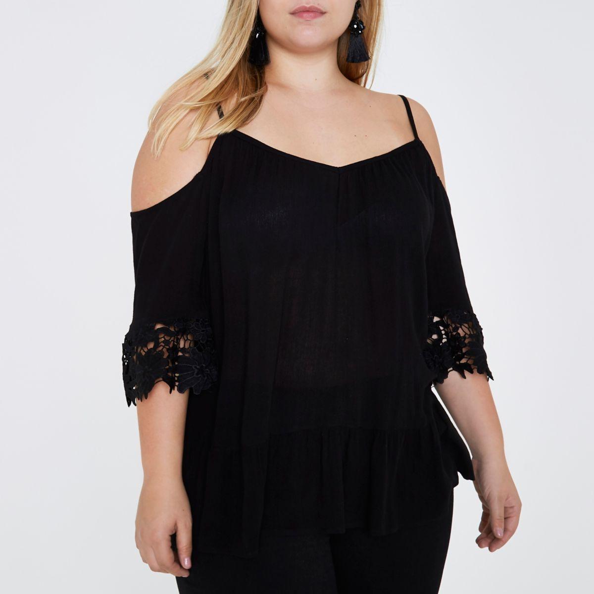 Plus black cold shoulder crochet top
