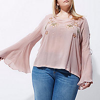 Plus pink embroidered flared sleeve top
