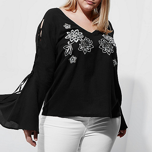 Plus black embroidered bell sleeve top