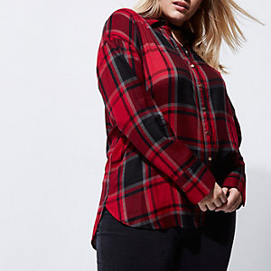 Plus red check bow back shirt