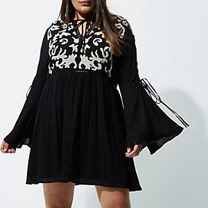 Plus black embroidered front smock dress