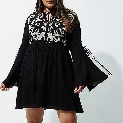 Plus black embroidered front smock dress