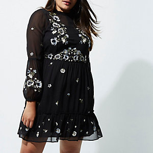 Plus black floral embroidered smock dress