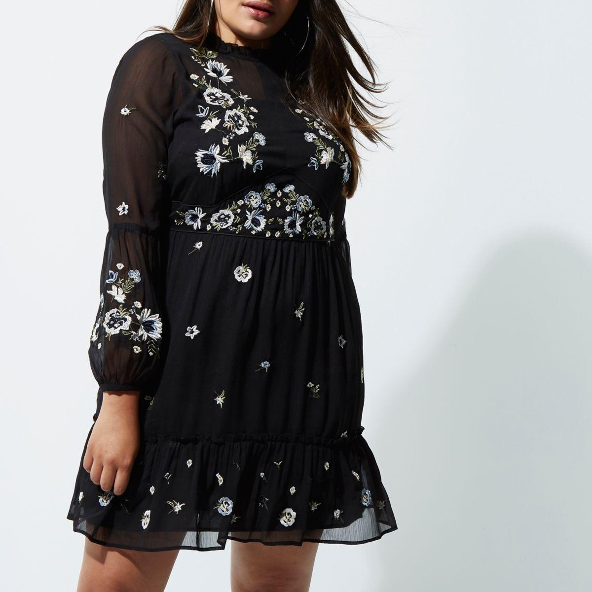 Plus black floral embroidered smock dress