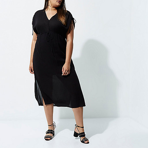 Plus black ruched midi dress