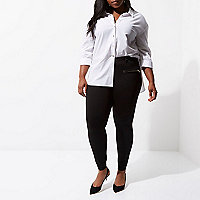 Plus black ponte skinny fit trousers