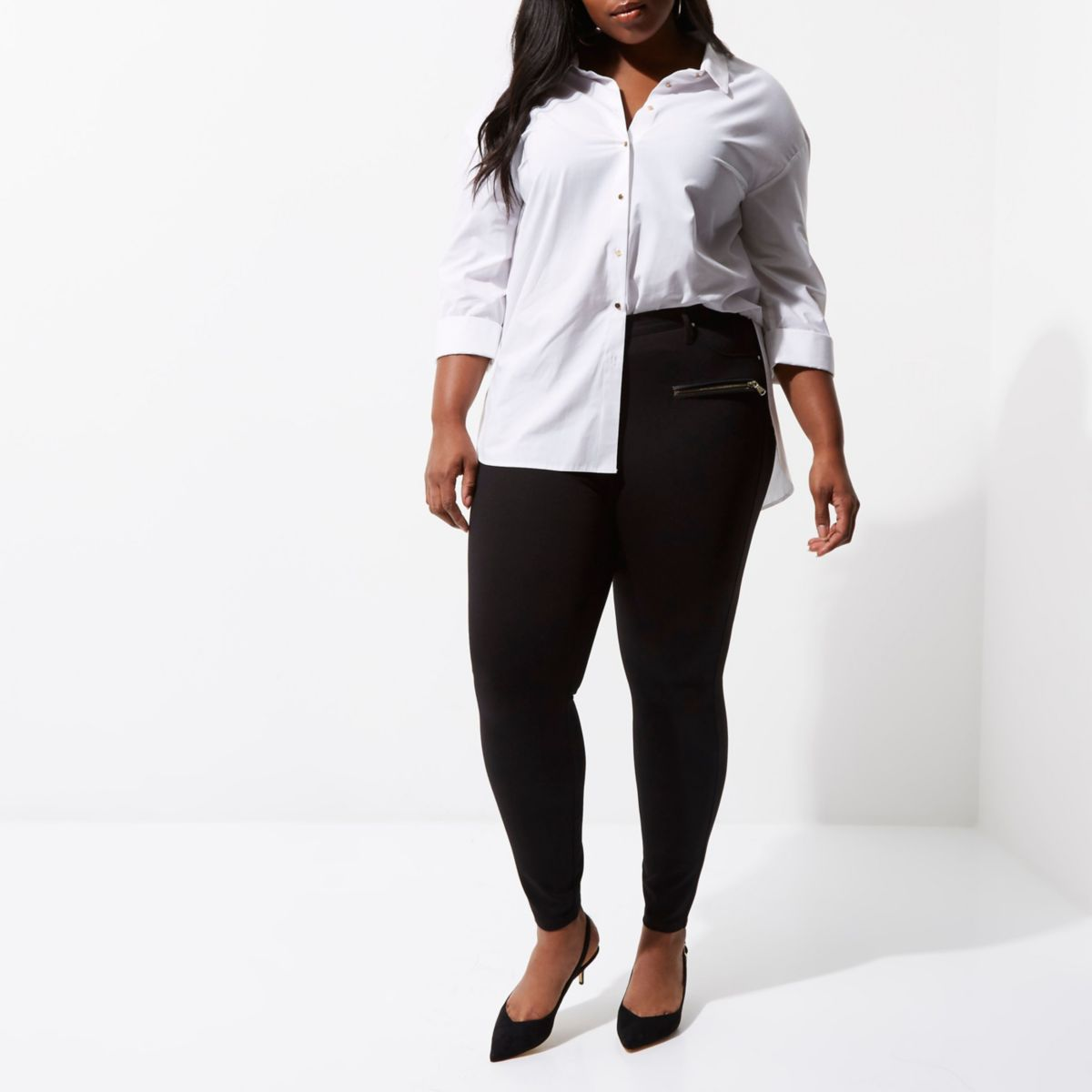 Plus black ponte skinny fit trousers