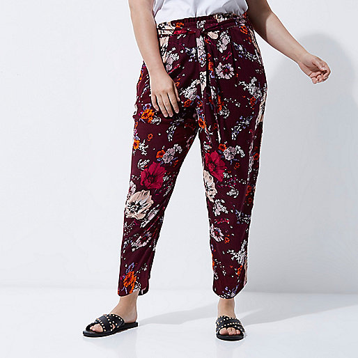Plus dark red floral print tapered joggers