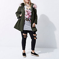 Plus khaki green pink fur collar parka