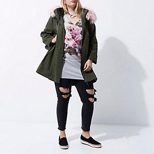 Plus khaki green pink faux fur collar parka