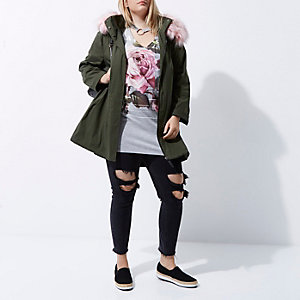 Plus khaki green pink faux fur collar parka