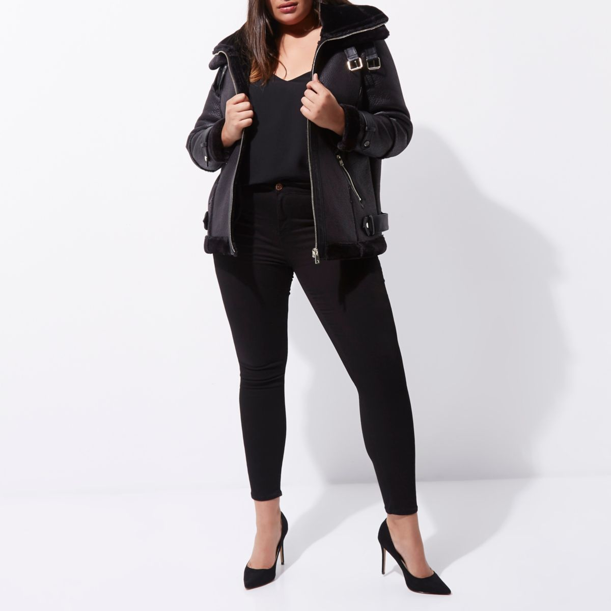 Plus black faux leather aviator jacket