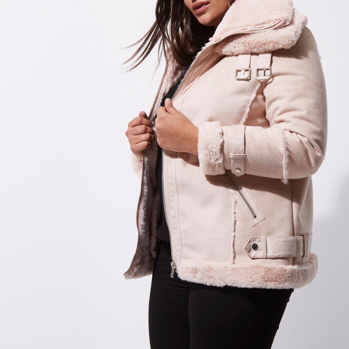Plus pink faux fur trim aviator jacket
