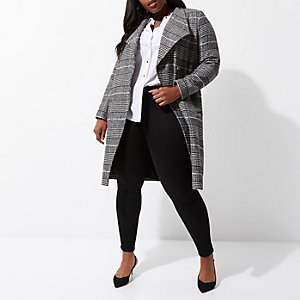 Plus black check belted robe coat