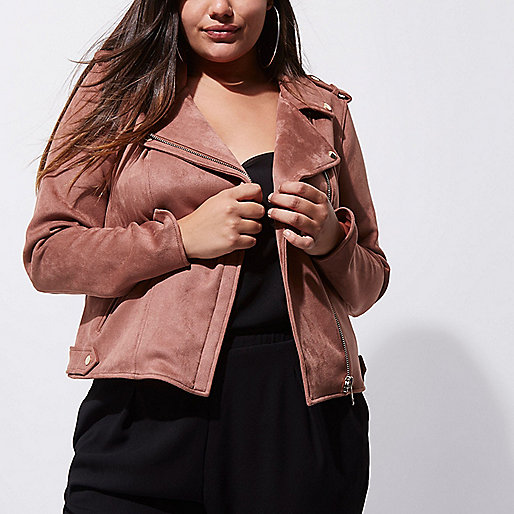 Plus dark pink faux suede biker jacket