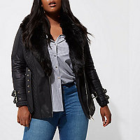 Plus black belted quilted biker collar coat