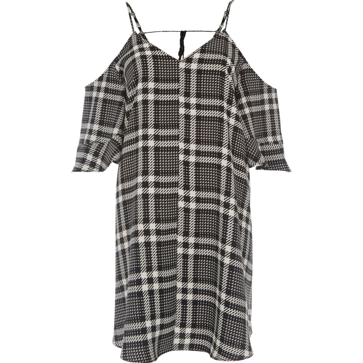 White mono check cold shoulder swing dress