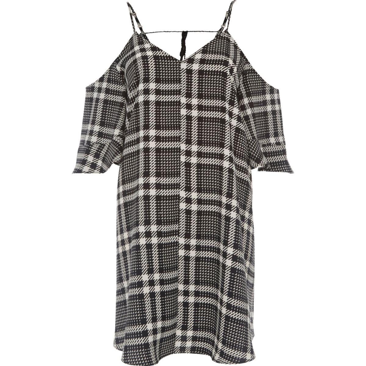 White mono check cold shoulder swing dress