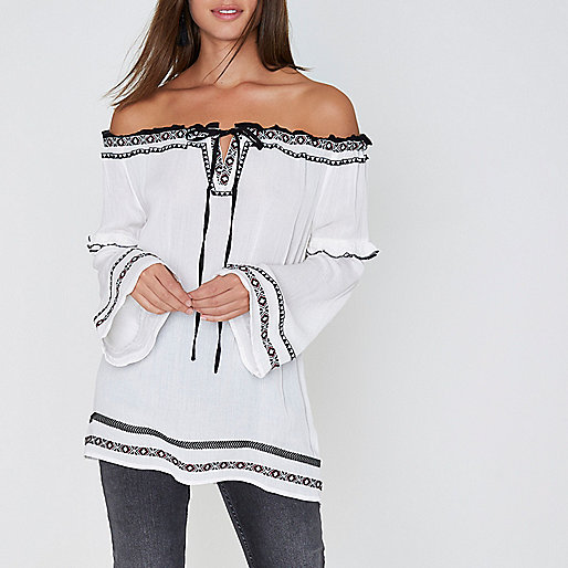White embroidered bardot smock top