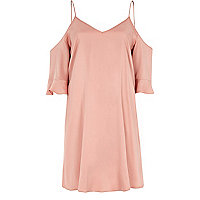 Light pink cold shoulder swing dress