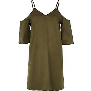 Khaki green cold shoulder swing dress