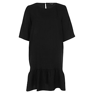 Black chiffon drop hem swing dress
