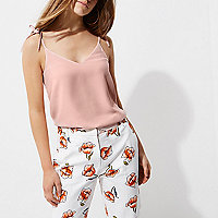 Petite pink bow shoulder cami top