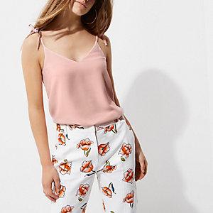 Petite – Pinkes Camisole mit Fliege