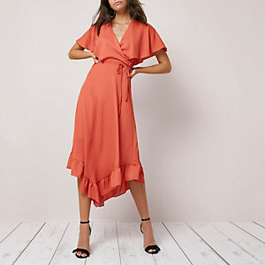Dark orange wrap asymmetric hem midi dress