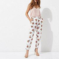 Petite cream floral print cigarette pants