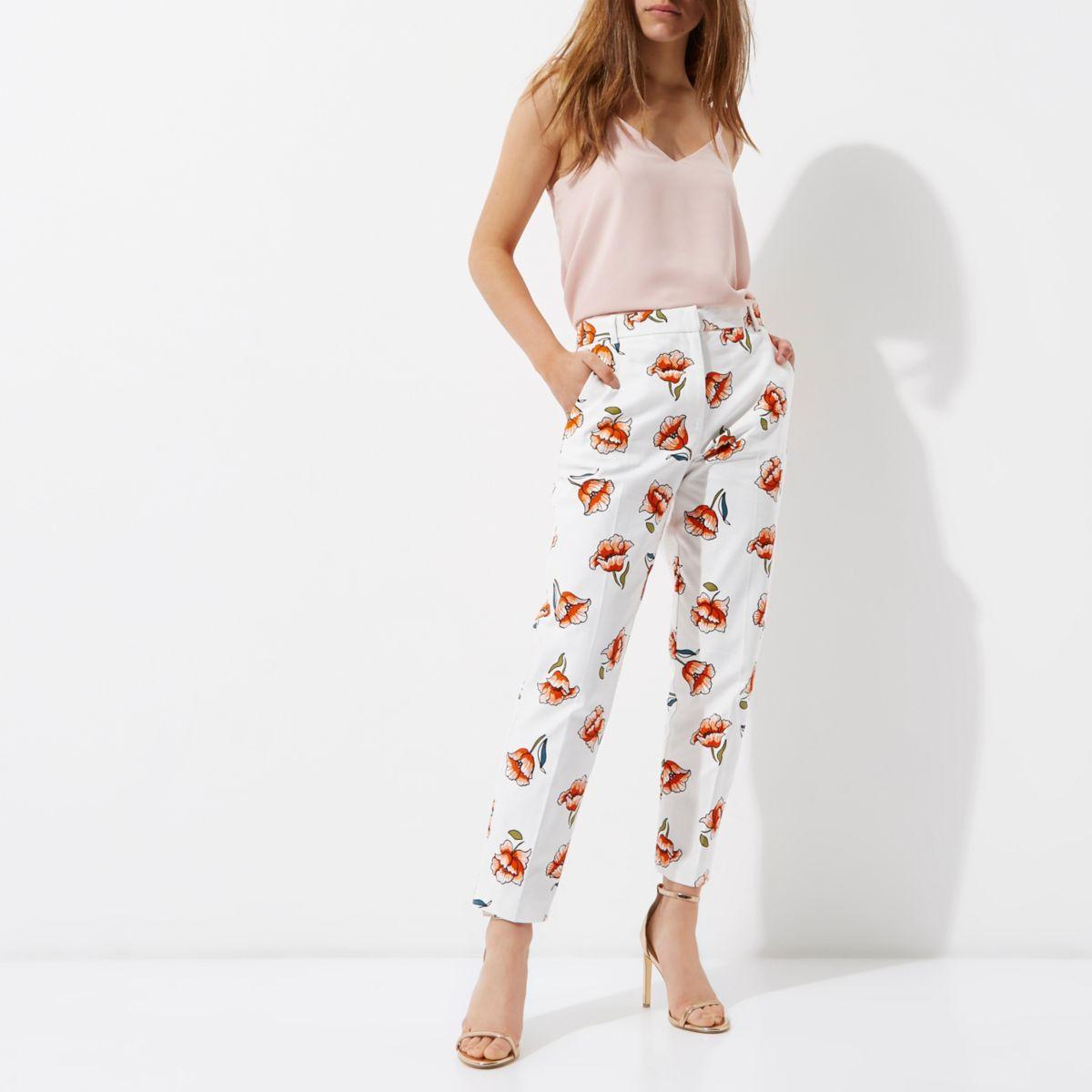 Petite cream floral print cigarette trousers