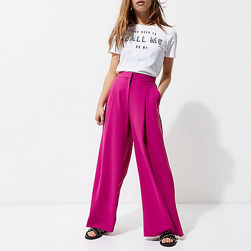 Petite dark pink wide leg trousers