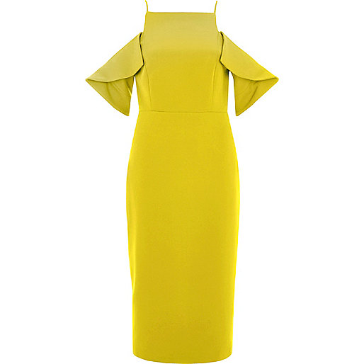 Yellow cold shoulder bodycon dress