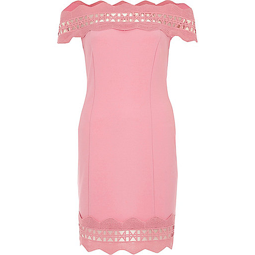 Pink bardot lace trim bodycon dress