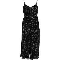 Zwarte gestippelde cami-jumpsuit met broekrok
