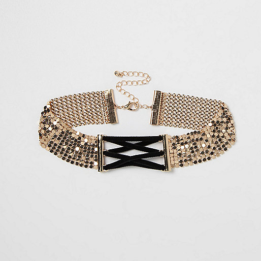 Gold tone chainmail corset choker