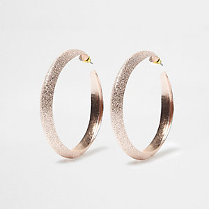 Rose gold tone sandblast hoop earrings