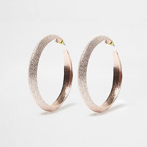 Rose gold tone sandblast hoop earrings