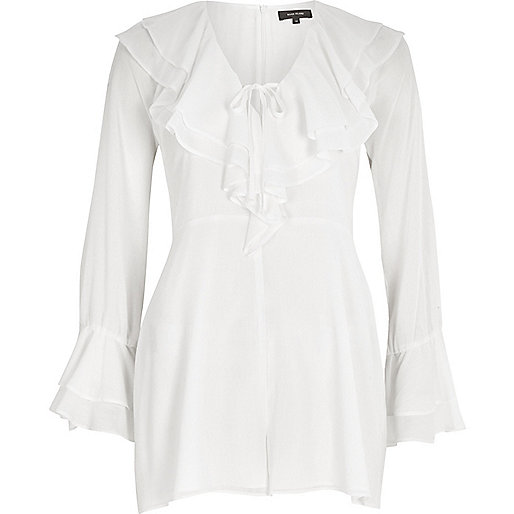 White dobby ruffle front bell sleeve playsuit