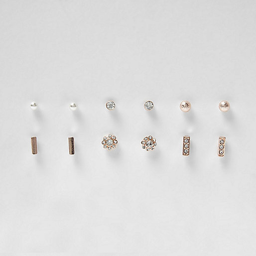 Rose gold tone pearl stud earrings pack