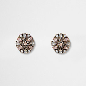 Gold tone pink rhinestone cluster stud earrings