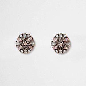 Clous d'oreilles dorés perles avec strass roses
