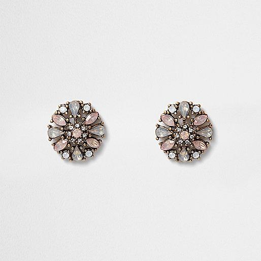 Gold tone pink diamante cluster stud earrings
