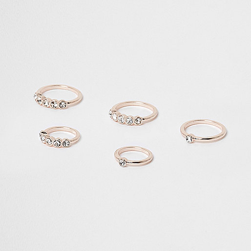 Rose gold tone diamante ring pack