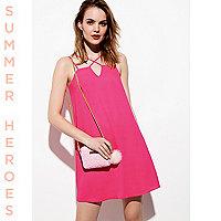 Pink cross strap slip dress