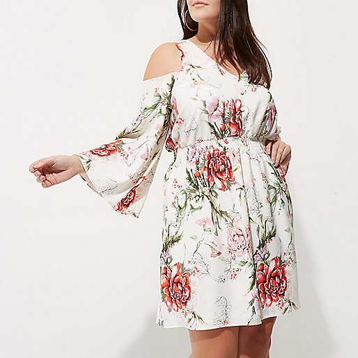 Plus white floral print cold shoulder dress