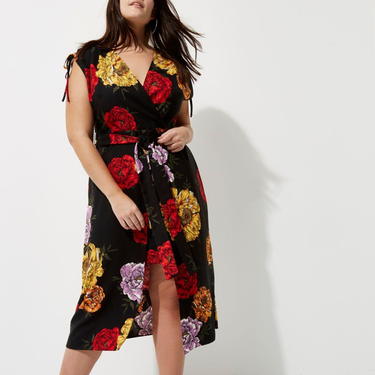 Plus black floral wrap midi dress